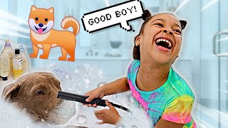 Cali's First Time Bathing Our Puppy | FamousTubeFamily