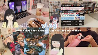 manga unboxing + haul, nighttime skin care routine, college orientation, food + anime | vlog