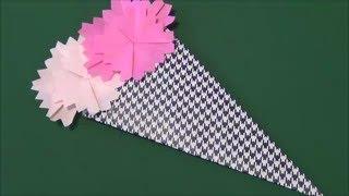 折り紙を使ったカーネーションの折り方です。花の数を増やせばもっと華...