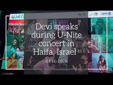 Devi Speaks During U Nite Concert In Haifa, Israel On 6 Feb 2020