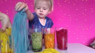 Радужные спагетти. Цветные макароны.Детские опыты.Челлендж с едой.