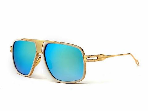 6b51dd6787 Aevogue blue mirror finish polarized gold frame men's vintage sunglasses
