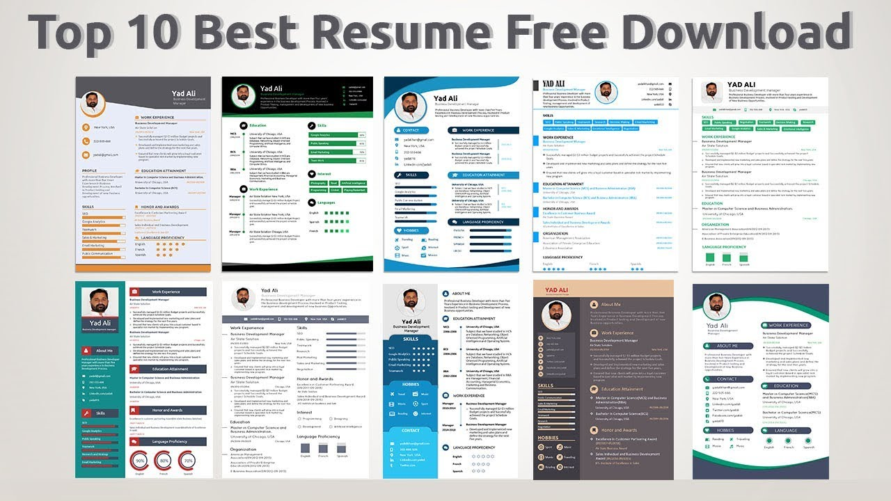 Top 10 Best Resume Templates Free Download 2019 Youtube
