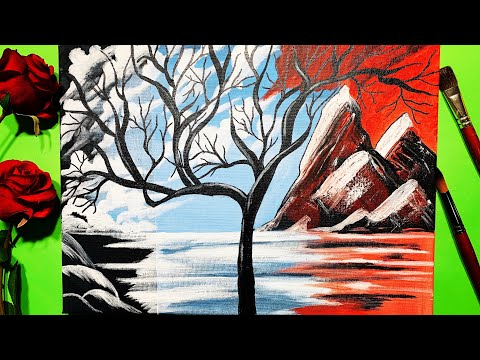 How To Paint | How to Draw Landscape Tree painting: Step By Step Tutorial in Acrylic For Beginners.