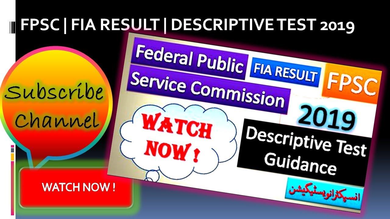 FPSC   FIA INSPECTOR INVESTIGATION   RESULT   DESCRIPTIVE TEST 2019