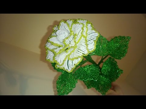 Как сделать большую розу из бисера видео