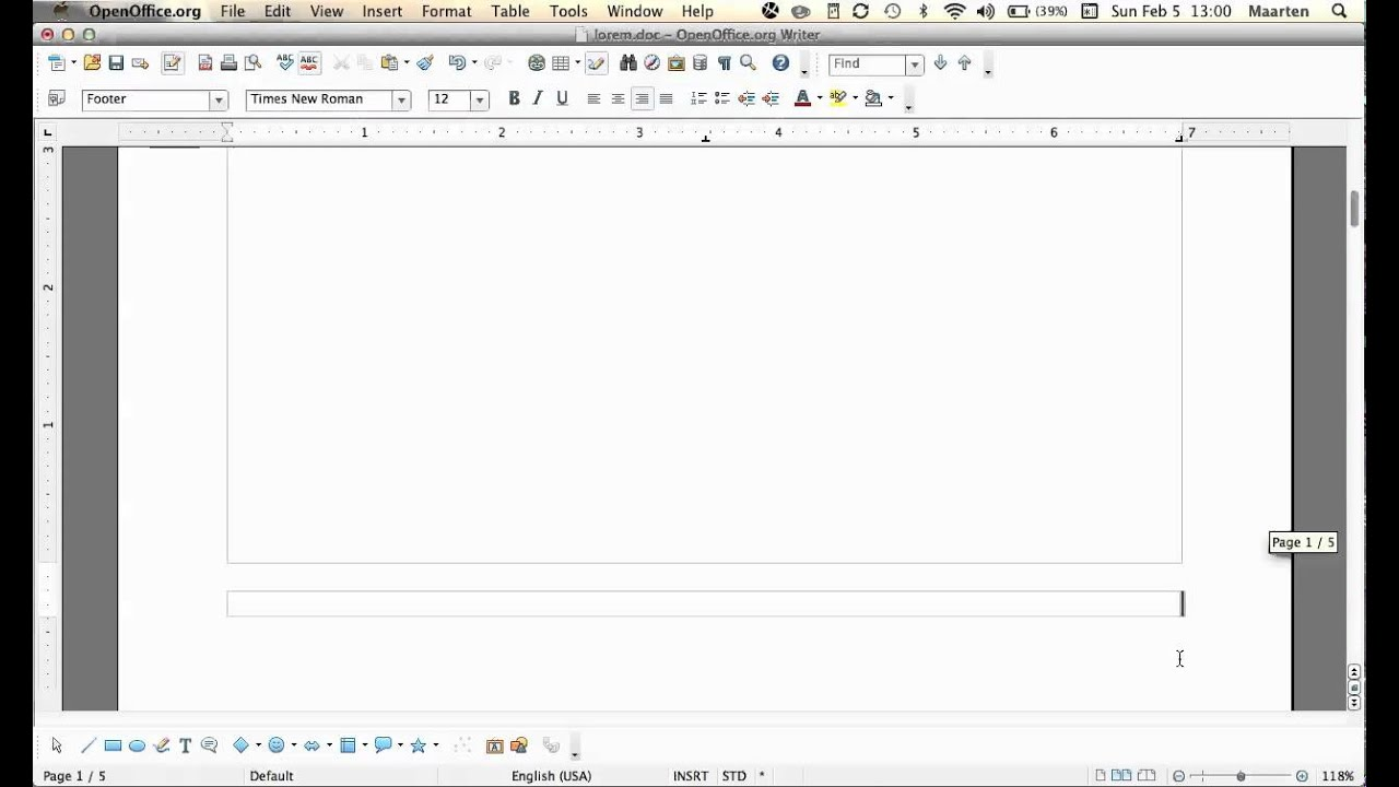 Insert a MLA format header in OpenOffice?