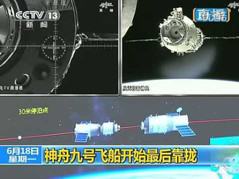Chinese shenzhou 9 spaceship docks with Tiangong-1 space station 神舟与天宫对接