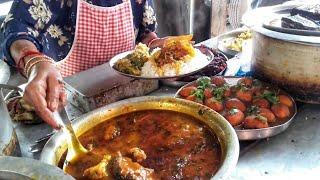 Lunch thali at Kolkata street food stall.