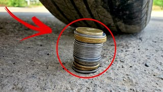 Crushing crunchy and soft things by car! Experiment: Car vs Coins | Slow motion