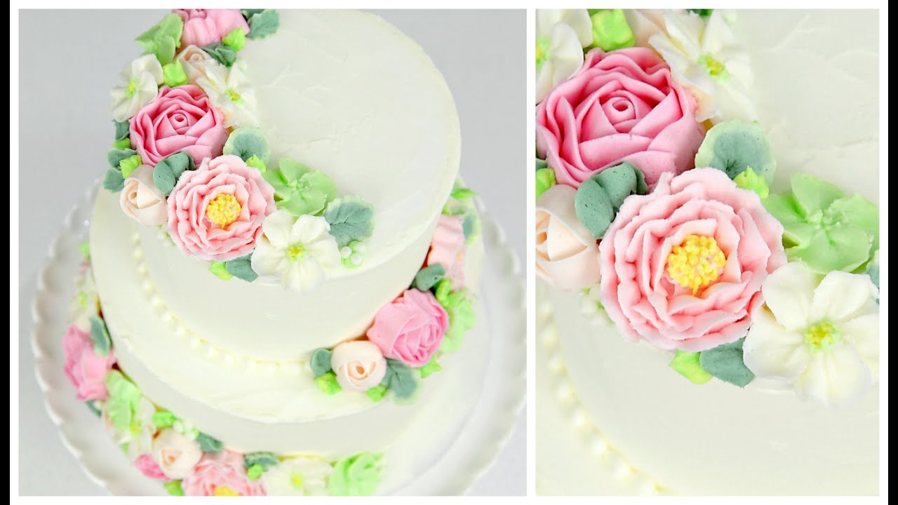 Cake Decorating Cream Flowers : Buttercream Flower Wedding Cake Tutorial - CAKE STYLE ...