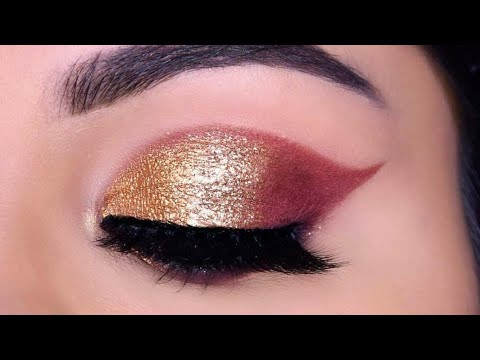 Very Easy GOLD GLITTER Eye Makeup For Beginners In Hindi गोल्डन आई मेकअप