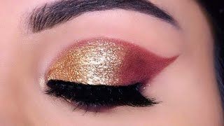 Very Easy GOLD GLITTER Eye Makeup For Beginners In Hindi गोल्डन आई मेकअप
