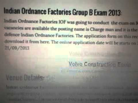 Indian Ordnance Factories Group B Exam 2013