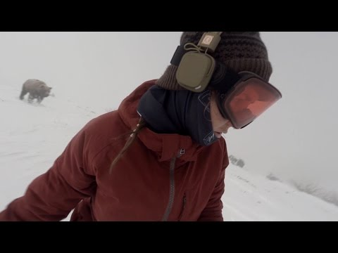 Snowboarder Girl Chased By Bear