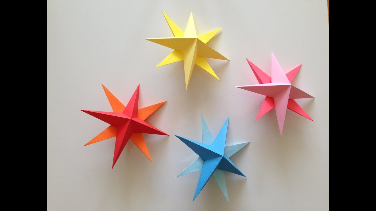 How to make Simple 3D Origami Paper Stars - YouTube