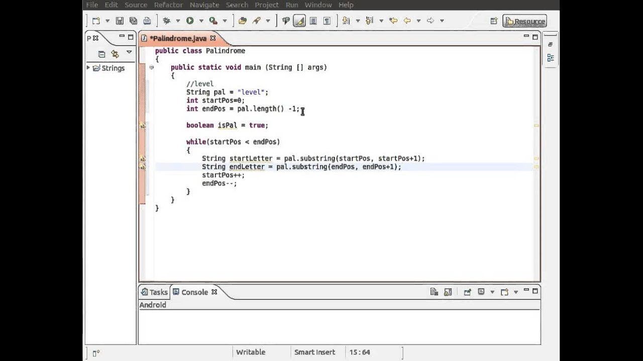 java string template - java string class palindrome example youtube