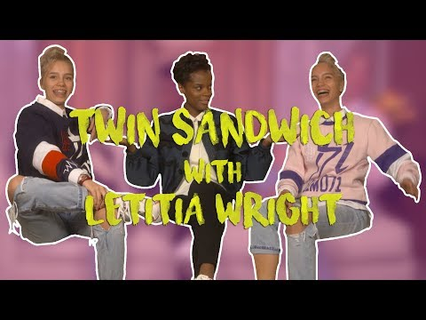 Lisa and Lena interview w/ LETITIA WRIGHT #TwinSandwich #Avengers   Lisa and Lena Official
