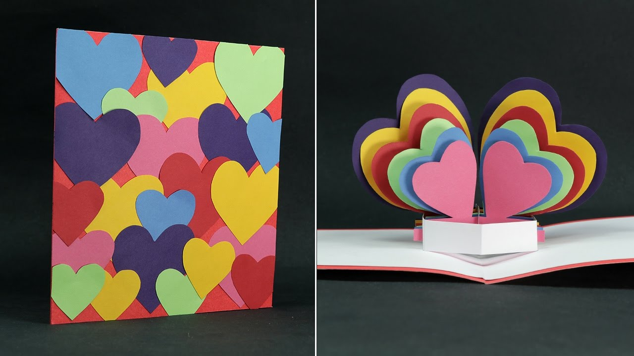 Diy Valentine Card Rainbow Heart Pop Up Valentines Day Card Step By Step Youtube