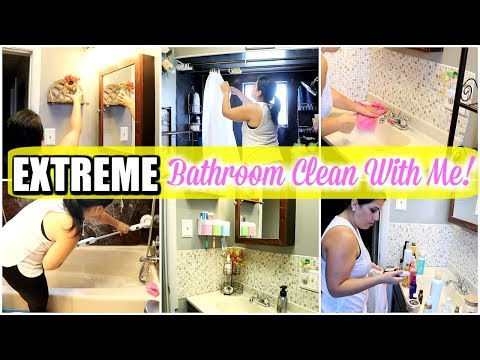 ULTIMATE BATHROOM 🚽 CLEAN WITH ME || 🍁 EXTREME CLEANING MOTIVATION FALL 2019
