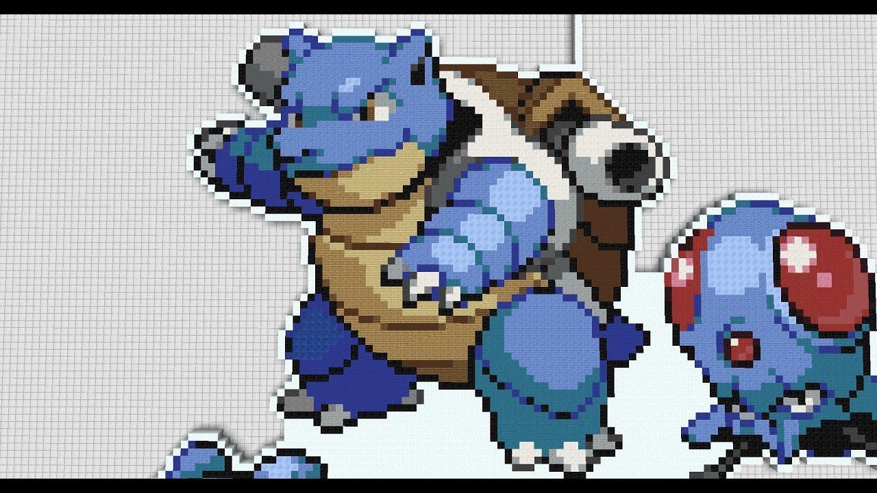 18 Minecraft Pixel Art Pokemon Blastoise