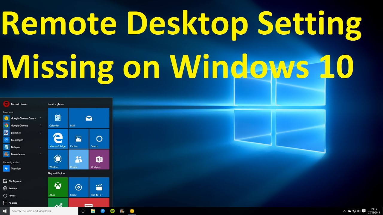 Windows 10 Remote Desktop Setting Missing