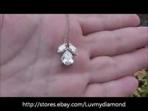 Vintage 1.61ct Pear Marquise Diamond Platinum Necklace Estate Jewelry