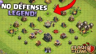 TH9 IN LEGENDS LEAGUE WITH NO DEFENSES OR WALLS! Clash Of Clans! BEST TH9 PLAYER IN THE WORLD!