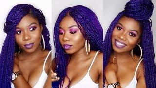 How To Make A Braided Wig | No closure | Purple Braided Wig | Beginner Friendly | Barbara Udenze