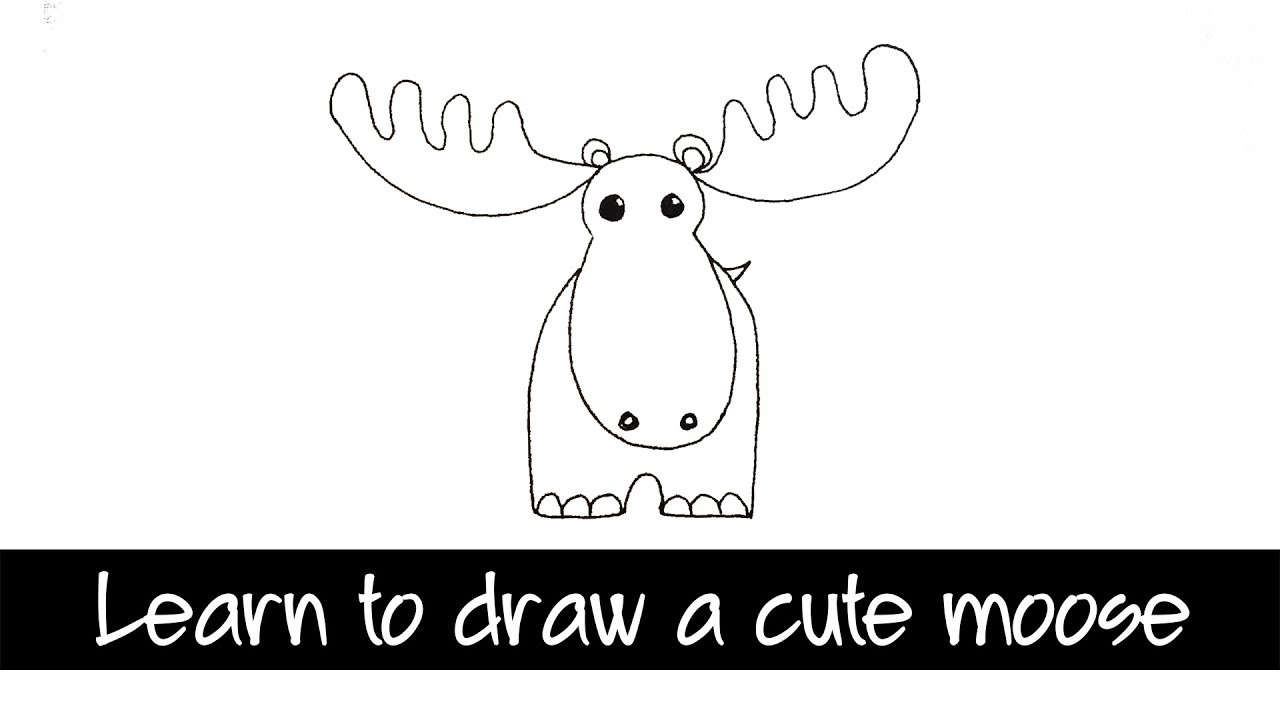 Learn to draw a Cute Moose - a step by step and easy to ...