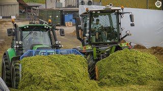 CLAAS XERION 3800 Trac Vc & Deutz-Fahr on a SILAGE PIT | Mais Silage 2019