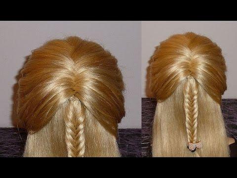 Причёска с плетением косички Рыбий хвост для средних и длинных волос
