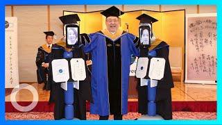 日本大學舉行線上畢業典禮 機器人代領畢業證書