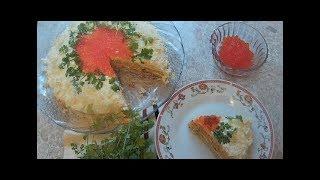 """Закусочный торт """"Наполеон"""" с консервированной рыбой."""