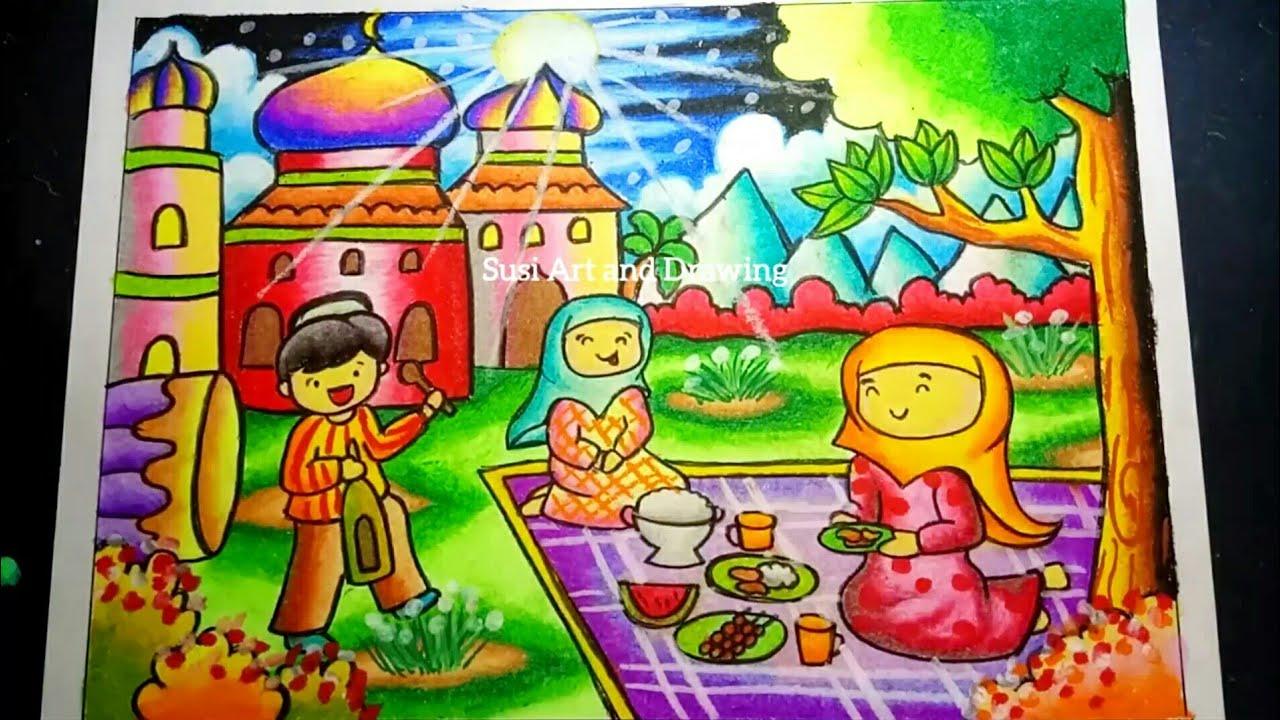 Cara Menggambar Dan Mewarnai Tema Bulan Puasa Drawing Ramadhan