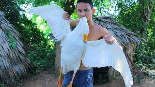 SURVIVAL SKILLS FIND GOOSE AND COOKING GRILLED GOOSE IN MY VILLAGE - FACTORY VILLAGE FOOD