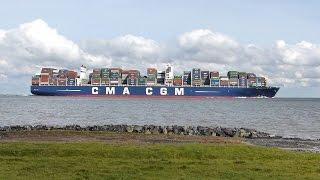 Erstanlauf CMA CGM VASCO DE GAMA auf der Elbe nach Hamburg, 10.09.2015