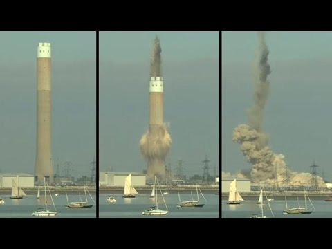Controlled explosion to demolish power station chimney in UK