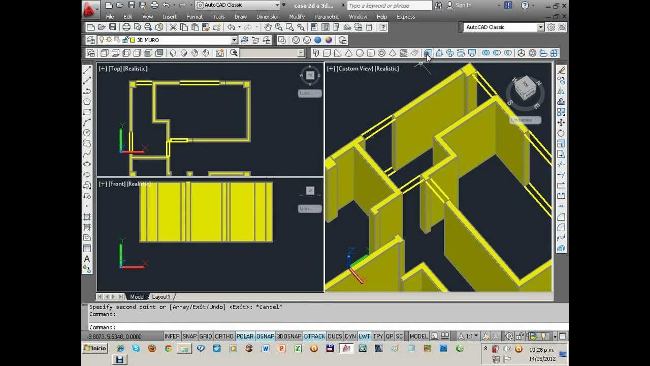 Modelado de una casa en autocad 3d 1 de 2 youtube for Hacer casas en 3d online