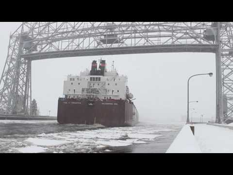Largest Ship on the Great Lakes Coming into Icy Duluth