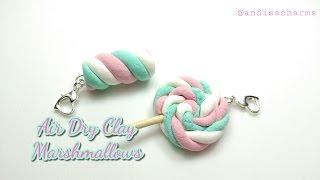 DIY Marshmallow Charm : Marshmallow Lollipop : Air Dry Clay Charms : Clay Marshmallows