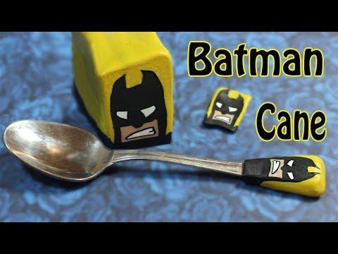 How to decorate a teaspoon - DIY Batman cane polymer clay tutorial