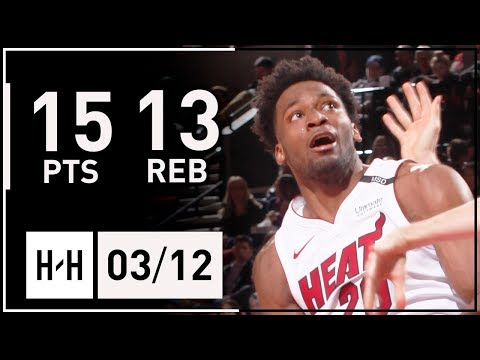 Justise Winslow Full Highlights vs Trail Blazers (2018.03.12) - 15 Pts, 13 Reb