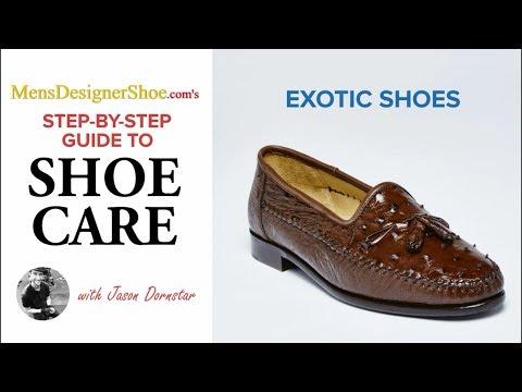How to shine Exotic leather shoes, MensDesignerShoe.com, [ASMR], How to