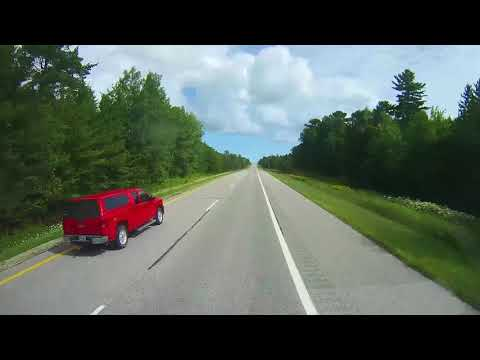 Driving on Interstate 75 in the Upper Peninsula of Michigan