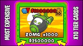 THE MOST EXPENSIVE CARD EVER - x1000 SHADOW ZOMG! Bloons TD Battles x10 Cards Hack/Mod (BTD Battles)