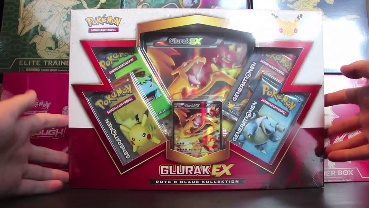 Pokemon Karten Mega Glurak Ex.Opening Pokemon Mysteriose Glurak Ex Rote Blaue Kollektion Box 20th Anniversary Karten Booster