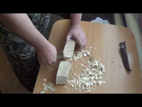 Финка General knife - тест на деревяшке