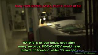 Sony HXR-NX70U low-light test  auto-focus and white balance problems