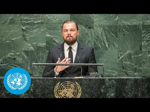 Leonardo DiCaprio (UN Messenger of Peace) at the opening of Climate Summit 2014